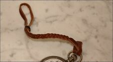 "LEATHER FLAT BRAIDED BROWN POCKET WATCH STRAP NOS NEW OLD STOCK 9"" FOR BELT"