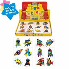 Boys 72 Superhero Temporary Tattoos Birthday Party Loot Bag Toy Fillers For Kids