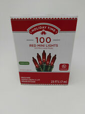 Holiday Time 100ct Red Mini Christmas Lights, Green Wire, 23ft Long