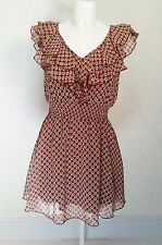SELECT burgundy Floral sheer chiffon V ruffle frill neck Mini skater dress sz 8