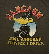 Looney Tunes Sarcasm Just Another Service I Offer T-shirt Medium Gray Daffy Duck