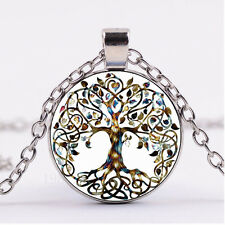 NEW Cabochon Glass necklace Silver/Bronze/Black pendant(celtic Tree of life)