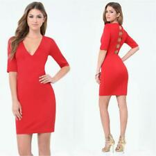 BEBE RED STRAPPY BACK ELBOW LENGTH DRESS NWT NEW $129 MEDIUM M