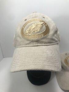 Philadelphia Eagles New Era 9TWENTY Adjustable Strapback HatTan Gold Buckle
