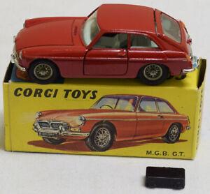 CORGI #327 MGB GT HATCHBACK, RED W/ BLUE INTERIOR, NR-MINT MODEL & CORRECT BOX!