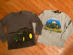 john deere size 7 boys shirts set of 2 thermal tractor gray
