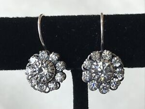 LIZ PALACIOS Silver Leverback Clear Swarovski Crystal  Earrings New Without Tags