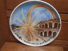 Piatto ceramica ARENA DI VERONA + COMETA VR dipinto a mano 1980