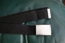 40mm Black Webbing Silver Metal Snap Buckle Military Royal Navy Style Belt