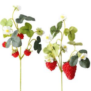 6 Pcs Acrylic Strawberry Artificial Fruit Flowers for Party Home Garden Fl O2Q2