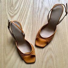 Bally Womens Sling Back High Heel Sandals Mustard Yellow 3.5 4 UK Worn Once EUC