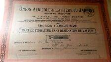 Part de fondateur - union agricole & laitière du Jarnisy - 1933