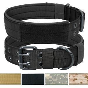 Tactical Military Dog Collar Nylon Adjustable K9 Training Work Collar Heavy Duty
