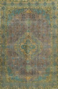 Vintage Distressed Tebriz Nomad Muted Area Rug Evenly Low Pile Hand-knotted 9x12