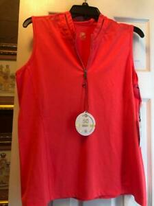 NWT Ladies TAIL CORALIE Neon Coral Sleeveless Golf Shirt Polo - L XL & XXL