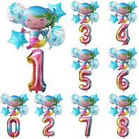 6pcs Cartoon Mermaid Number Foil Balloon Set Kids Birthday Party Decoration