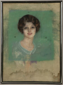 Original '20s Earl Christy Framed Oil Pastel on Canvas Illustration Art Painting