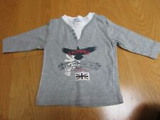 '3 Pommes' used baby boys grey long-sleeve top, age 6 months