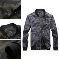 Men Camouflage Bomber Jacket Military Windproof Camo Outdoor Casual Zipper UP