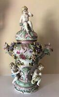 Antique German Putti Cherub Porcelain Vase Lidded Jar Urn Signed