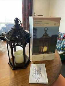 Smart Garden Moroccan Battery Lantern Realistic Flickering LED Candle Timer 33cm