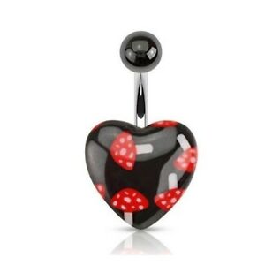 RED BLACK SHROOMS HEART MUSHROOM BELLY NAVEL RING BUTTON PIERCING JEWELRY B744