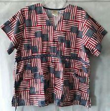 Tafford Women's M Scrubs Top Rustic American Flag Pockets Tie Back Short Sleeve