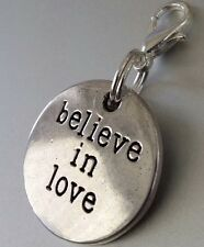 """Round Medallion Believe in love Silver Dangle Clip Charm Healing Word pendant 1"""""""