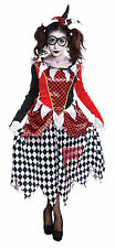 Harlequin Evil Girl Costume Halloween Fancy Dress Costume Outfit Size 10