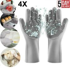 2Pair Magic Dish Washing Gloves Silicone Rubber Scrubber Cleaning Glover Gray US