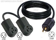 Y Adapter L14-30 Twist Lock Generator Plug 6-50R Welder Receptacle Dual Splitter