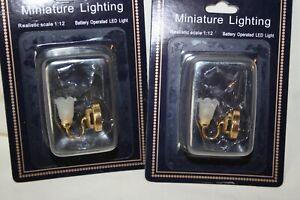 Miniature Dollhouse Pair Brass Wall Sconces w Tulip Shades LED Battery 1:12 NR