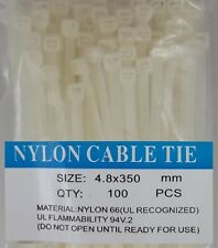 "14"" White Nylon Cable Tie Zip Heavy Duty Plastic Wire - Pack of 100pcs"