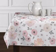 Pink Grey &White Watercolor Floral Rose Tablecloths Dining Room Kitchen 60 x102