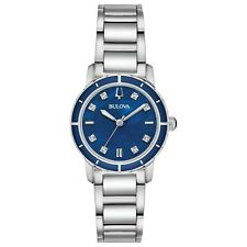 Bulova Women's Quartz Diamond Accent Markers Blue Dial 30mm Watch 96P195