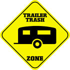Yellow Aluminum Crossing Sign Trailer Trash Zone Cross Xing Style A