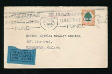 SOUTH AFRICA 1935 ALLEN + HANBURYS ENV AIRMAIL to GB..6d + TUBERCULOSIS FUND PMK