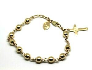 Kaedesigns New 9ct yellow gold 6mm Ball Rosary Bead bracelet 21cm long
