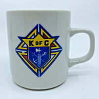 Vintage Knights of Columbus K of C Mug Coffee Cup White Catholic Nonprofit Used