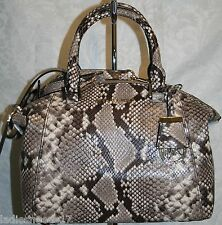 MICHAEL KORS RILEY SMALL SATCHEL NATURAL MULTI EMBOSSED LEATHER 30T5GRLS1N