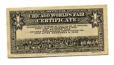 1933 CHICAGO WORLDS FAIR Certificate 1 cent Century of Progress hotel restaurant