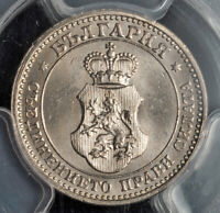 1913, Kingdom of Bulgaria, Ferdinand I. Nice Cu-Ni 5 Stotinki Coin. PCGS MS-64!