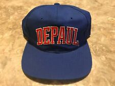 Vintage 90s DEPAUL University College Script Starter SnapBack Hat Broken Snap