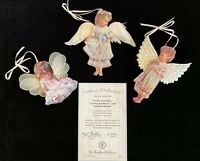 3 HEAVEN'S LITTLE ANGELS ORNAMENTS DONA GELSINGER BRADFORD EDITIONS numbered
