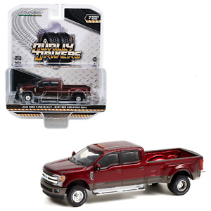 Greenlight 1/64 Dually Drivers 7 2019 Ford F-350 Ruby Red / Stone Gray 46070F