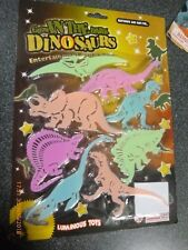 GLOW IN DARK ADHESIVE PLASTIC SHAPES 8 Assorted Dinosaurs CEILING STICKERS
