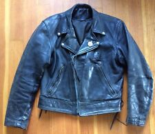 VINTAGE LANGLITZ COLUMBIA HORSEHIDE POLICE LEATHER JACKET 38 Green Label
