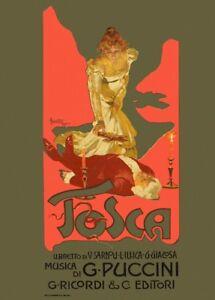Giacomo Puccini TOSCA Adolfo Hohenstein Opera Vintage Classical Music Poster