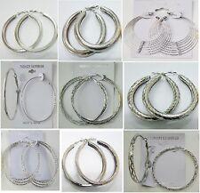SU-12 Wholesale Fashion Earring lots 9pairs Silver Plated Hoop EarringsUS-SELLER