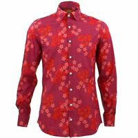 Mens Shirt Loud Originals TAILORED FIT Spiral Red Retro Psychedelic Fancy